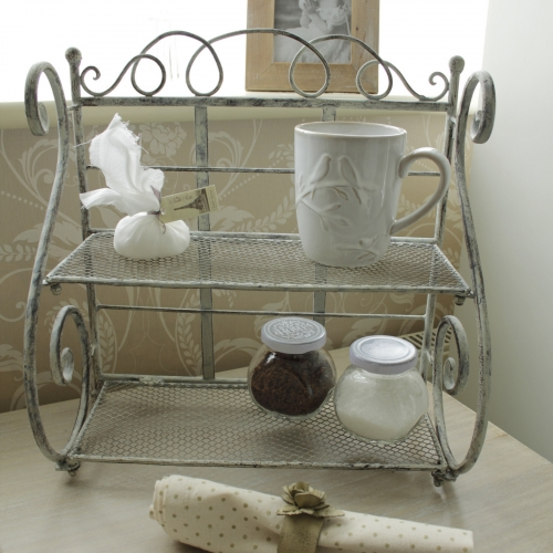 grey two tier metal shelf unit