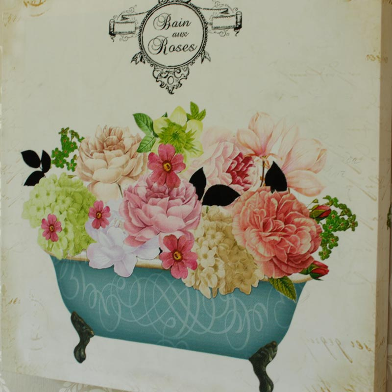 Vintage Bath Tub Rose Wall Canvas