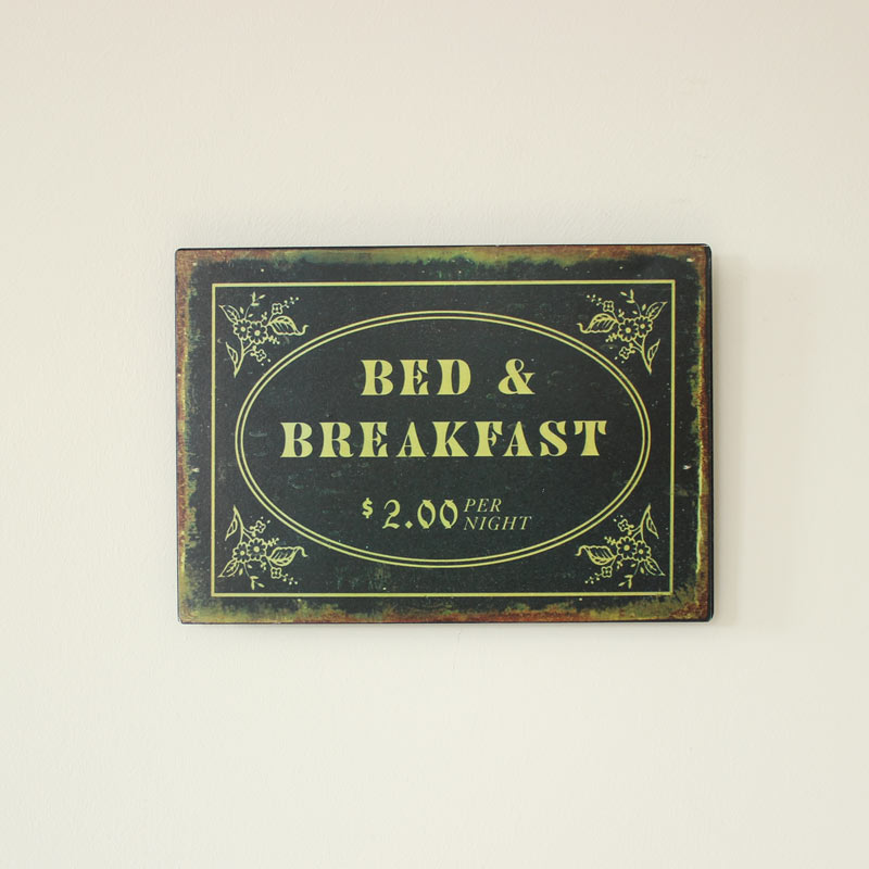 Vintage Bed and Breakfast Plaque