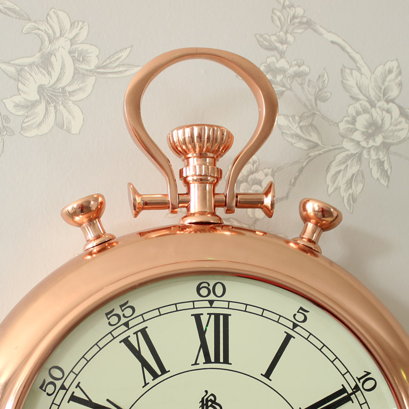 Vintage Copper Stop Watch Style Wall Clock