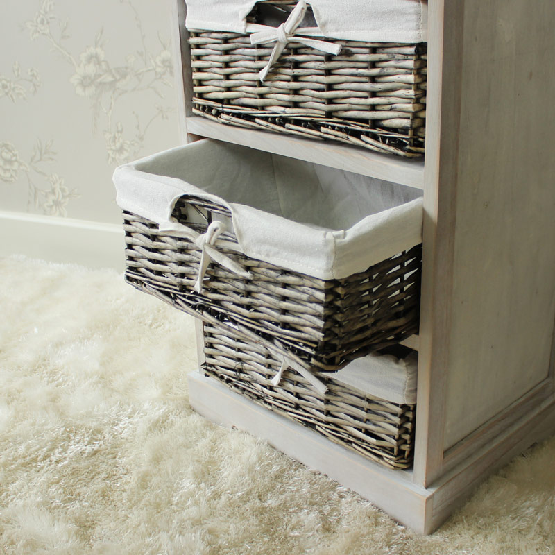 Vintage Grey Range - One Drawer with Four Wicker Baskets Tall Storage Unit