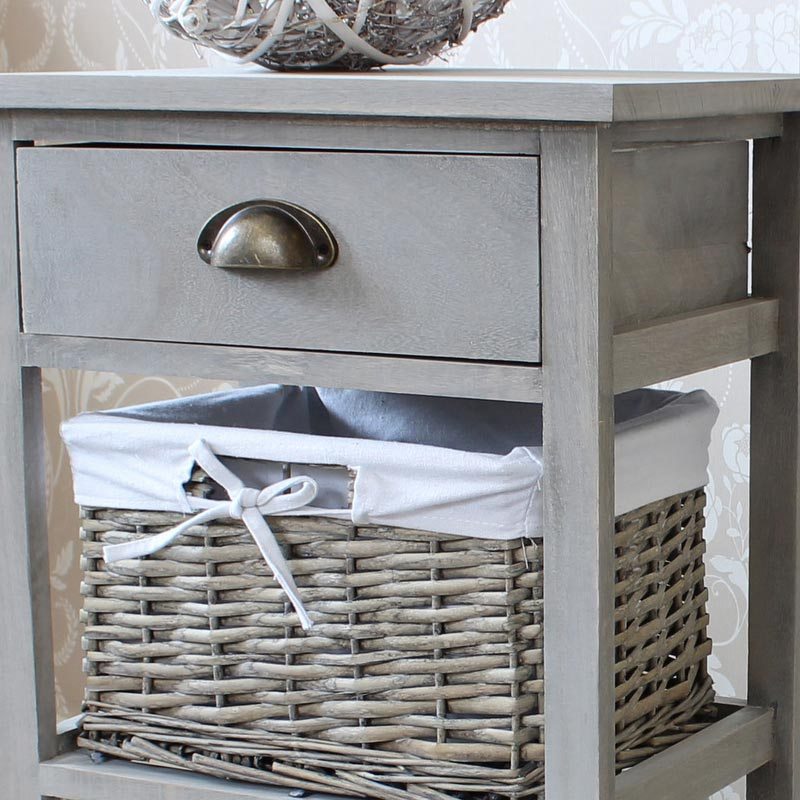Vintage Grey Range - One Drawer with Two Wicker Baskets Tall Storage Unit