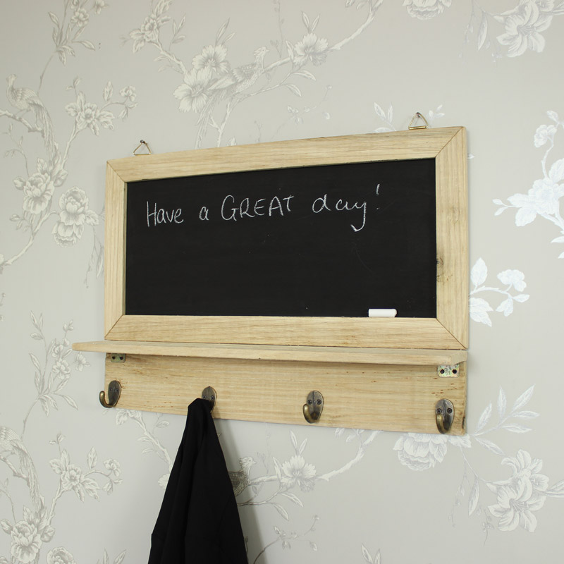 Wall Mounted Chalkboard with Hooks