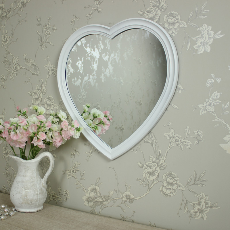 Wall Mounted Large White Heart Wall Mirror Melody Maison