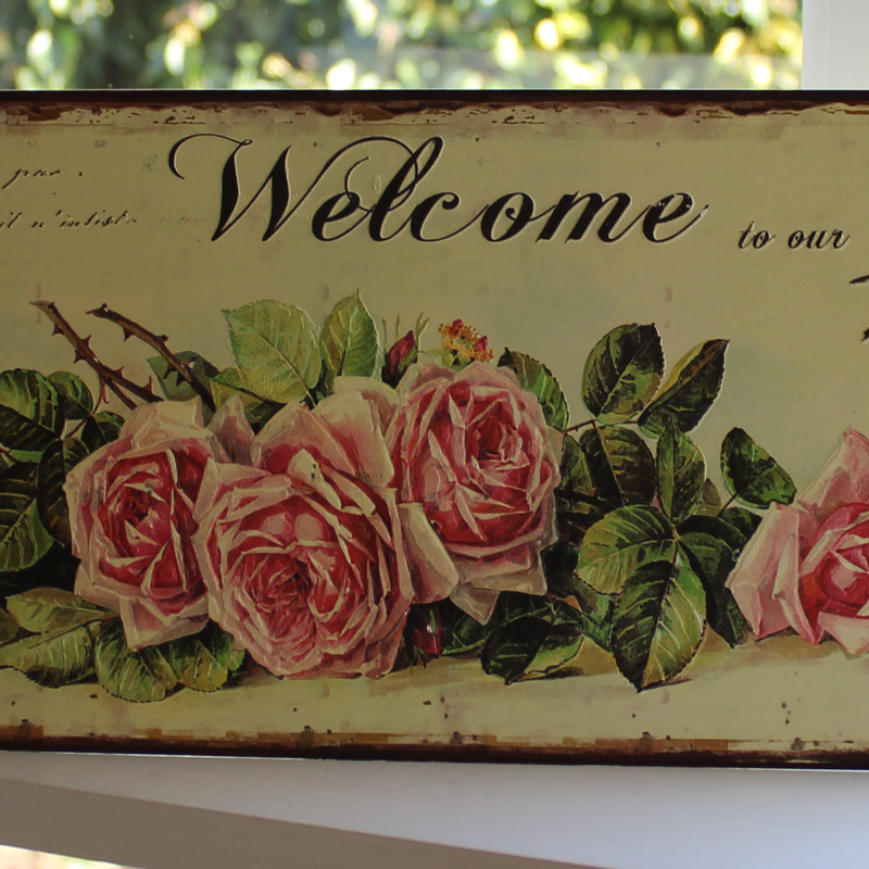 """Welcome to our home"" Rose Plaque"