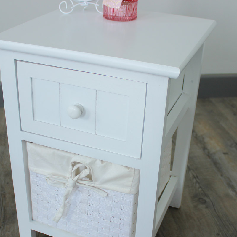White one drawer storage cabinet with wicker basket shabby unit chic bedside