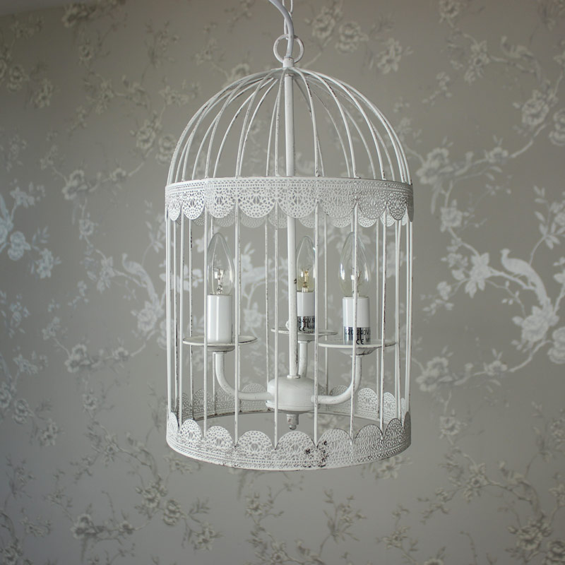 white metal chandelier birdcage ceiling light fitting. Black Bedroom Furniture Sets. Home Design Ideas