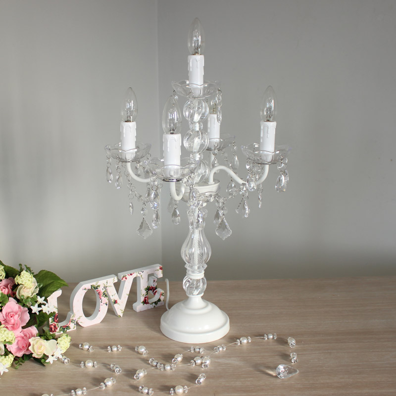 White Chandelier Style Table Lamp Melody Maison 174