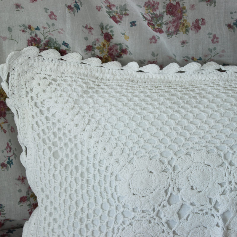White Crochet Pillow