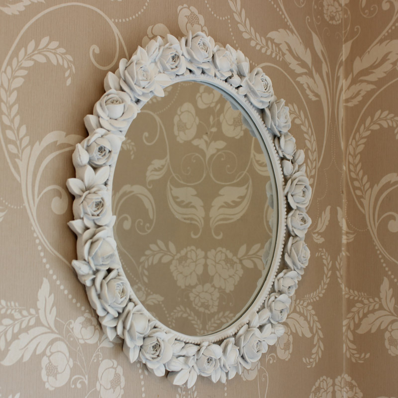 White decorative rose wall mirror melody maison for Large white decorative mirror