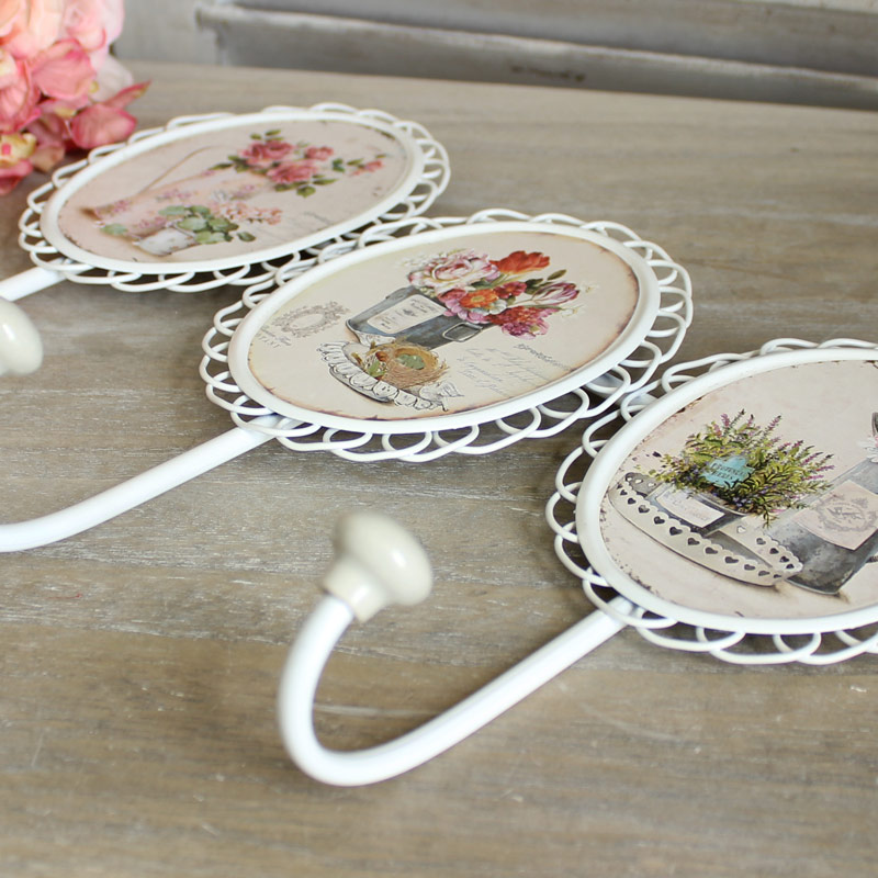 White Floral Wall Hooks