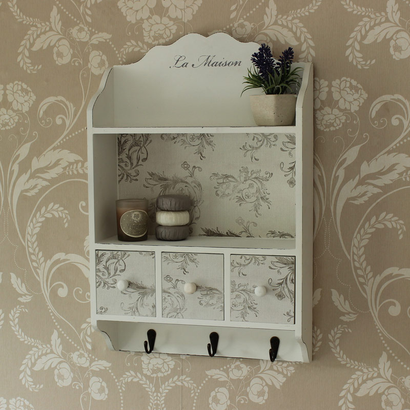 White French Style Shelving Unit With Drawers and Hooks