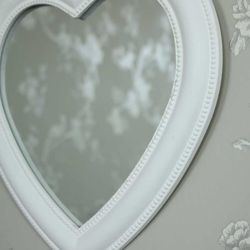 White Heart Wall Mirror Melody Maison