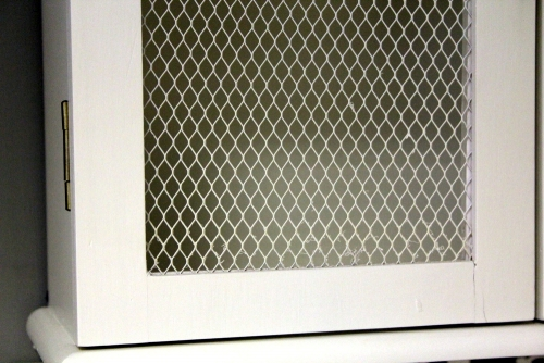 Large White Mesh Fronted Wall Cabinet