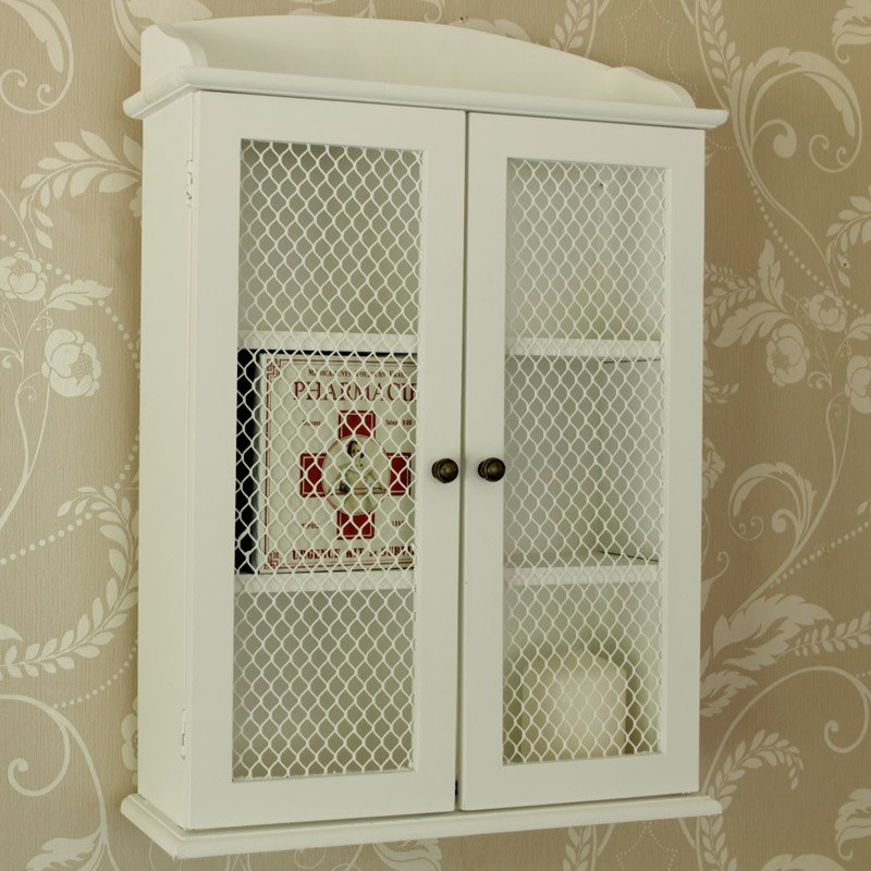 White Wood Mesh 2 Door Kitchen Bathroom Cupboard Cabinet