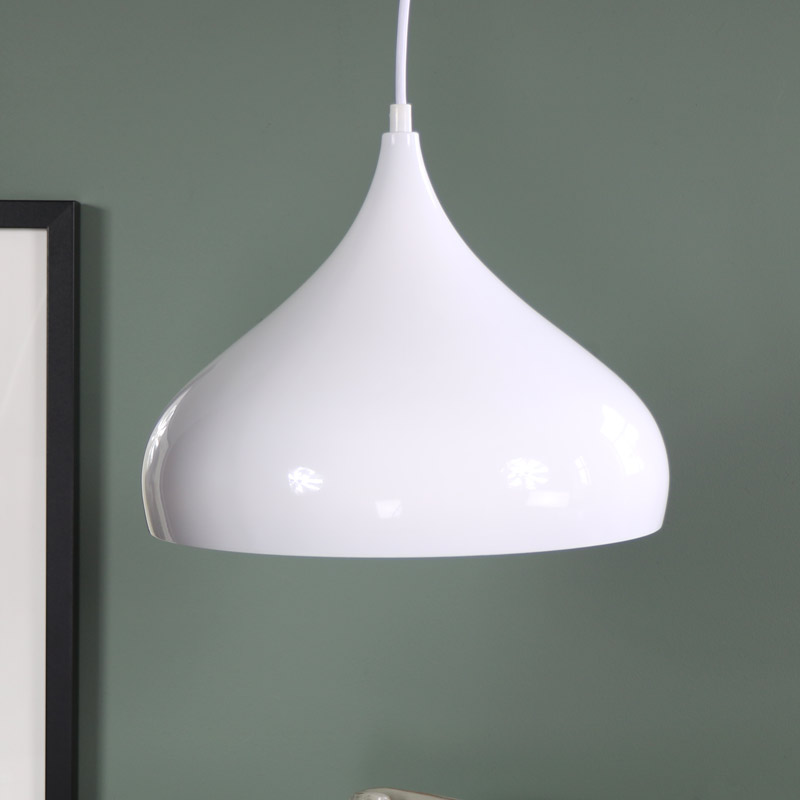 White Metal Dome Pendant Ceiling Light Fitting - Melody Maison