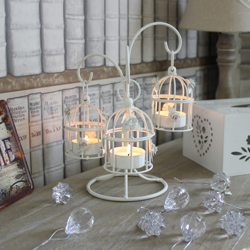 White Metal Triple Birdcage Tealight Holder