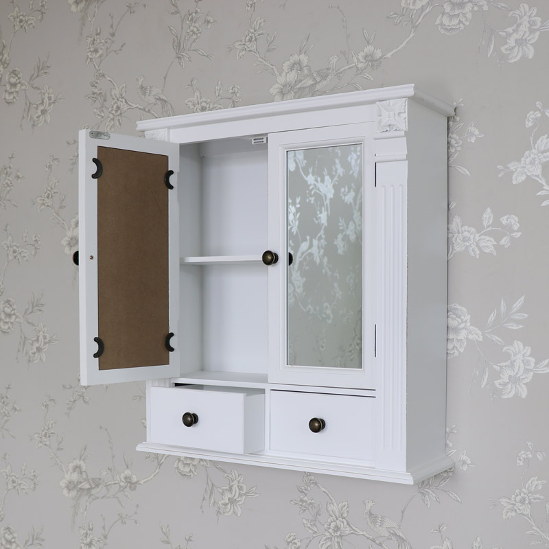 white wooden mirrored bathroom wall cabinet shabby vintage chic cupboard storage. Black Bedroom Furniture Sets. Home Design Ideas