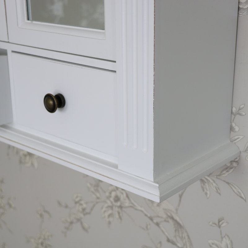 White Mirrored Door Cupboard with Drawers