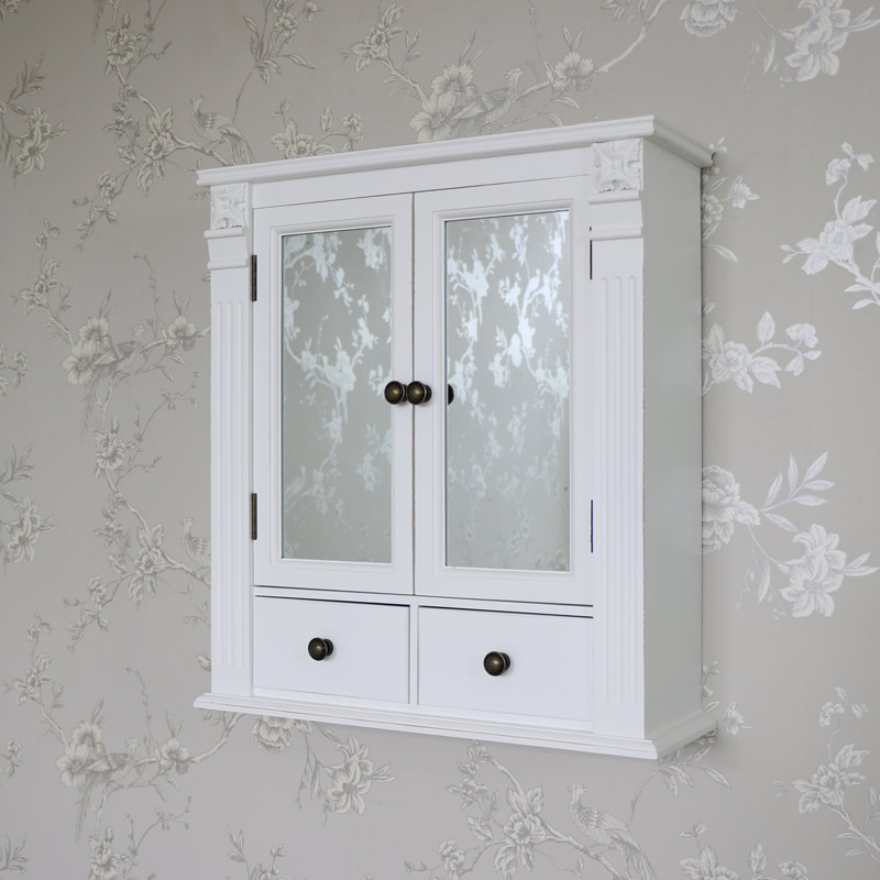 details about white wooden mirrored bathroom wall cabinet shabby