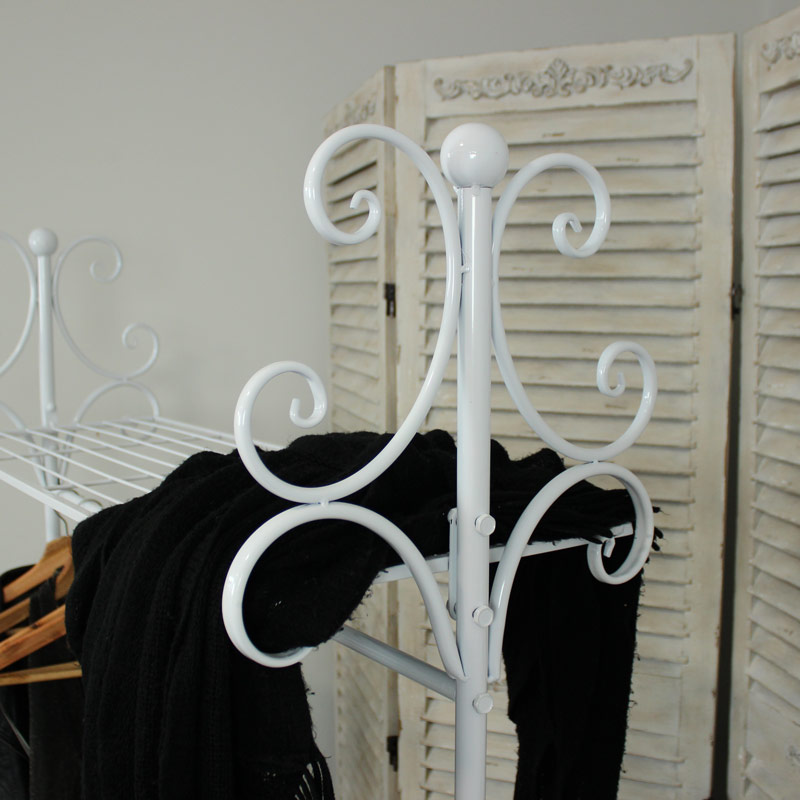 white ornate clothes rail melody maison. Black Bedroom Furniture Sets. Home Design Ideas
