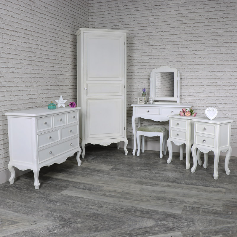 Details About White 3 Piece Storage Drawers Twin Bed Box: White Single Wardrobe, Dressing Table Set, Pair Of