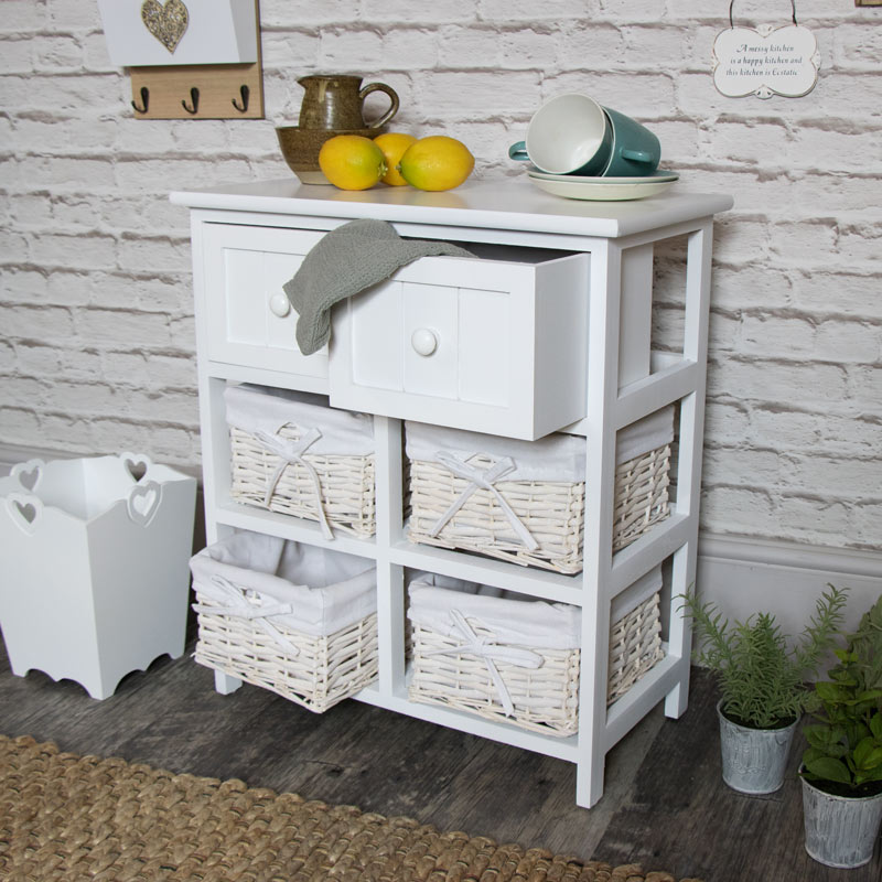 White Wicker Storage Unit - 4 Basket/2 Drawer - Melody Maison®