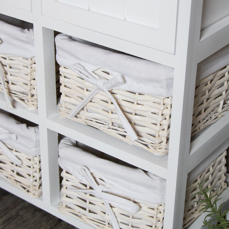 White Wicker Storage Unit 4 Basket 2 Drawer Melody Maison 174
