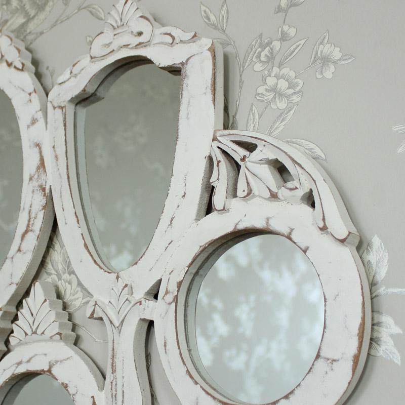 white wooden vanity multi mirror shabby vintage chic