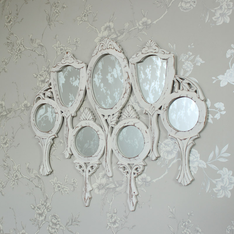 White wooden vanity multi mirror shabby vintage chic for White bedroom wall mirror
