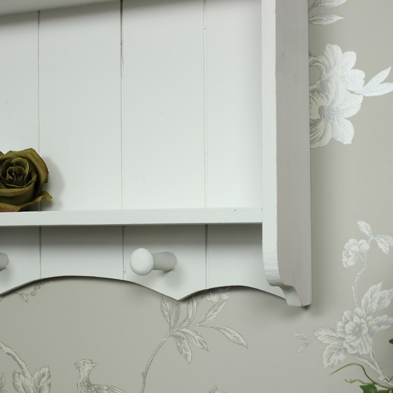 White Wooden Shelf Unit With Hooks Shabby Vintage Chic Kitchen Bathroom Bedroom Ebay