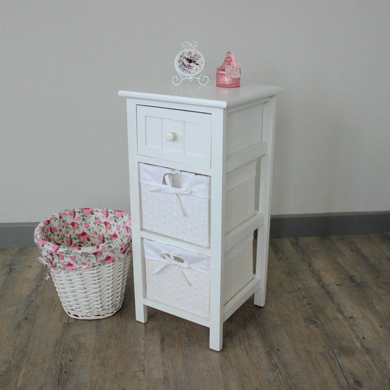 White Wicker 2 Drawer Storage Unit