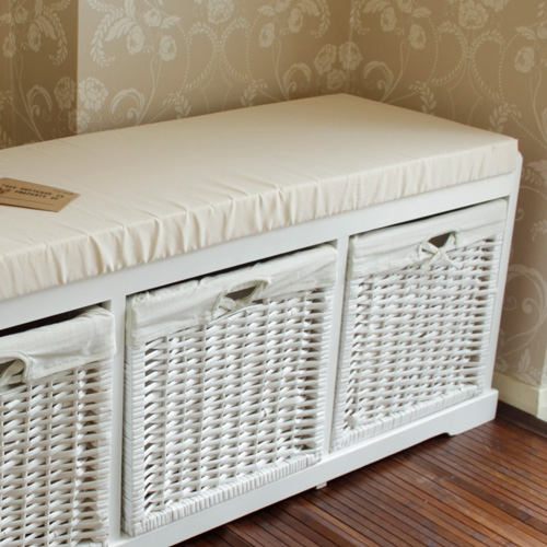 White Wooden Storage Bench Melody Maison