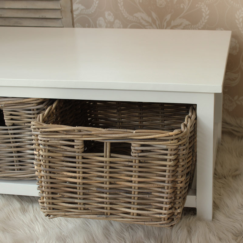 White Wood Coffee Table with Wicker Baskets