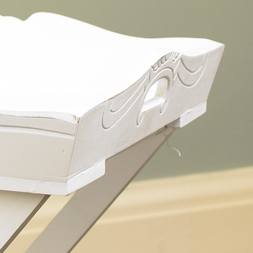 white wooden free standing butlers tray