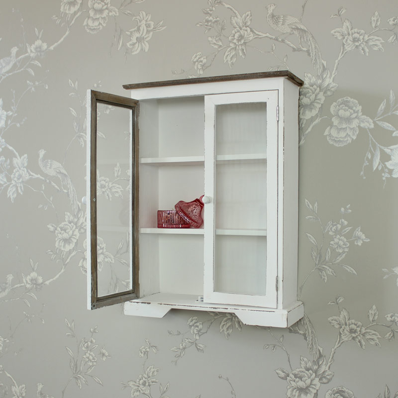 White Wooden Glazed Display Cabinet