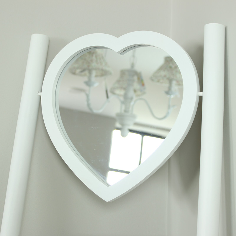 White Wooden Ladder With Heart Mirror Melody Maison