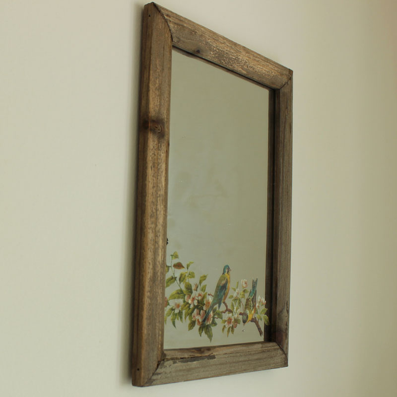 Wall Art Mirror Birds : Wooden bird and flower wall mirror melody maison?