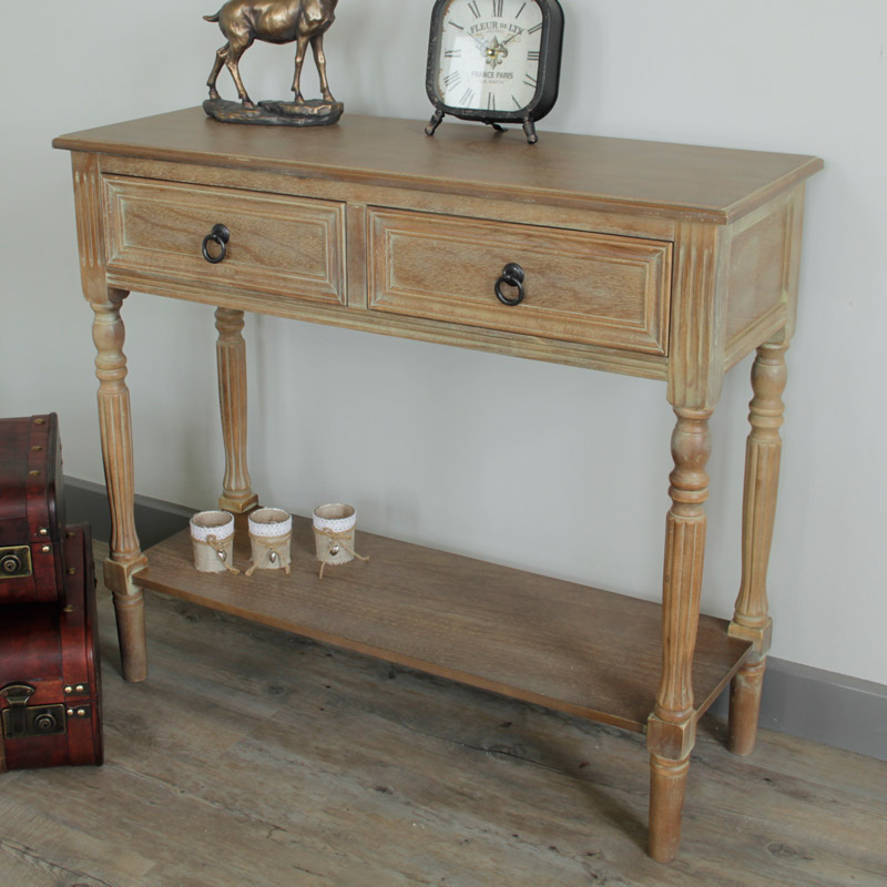 Wooden Console Table with Shelf