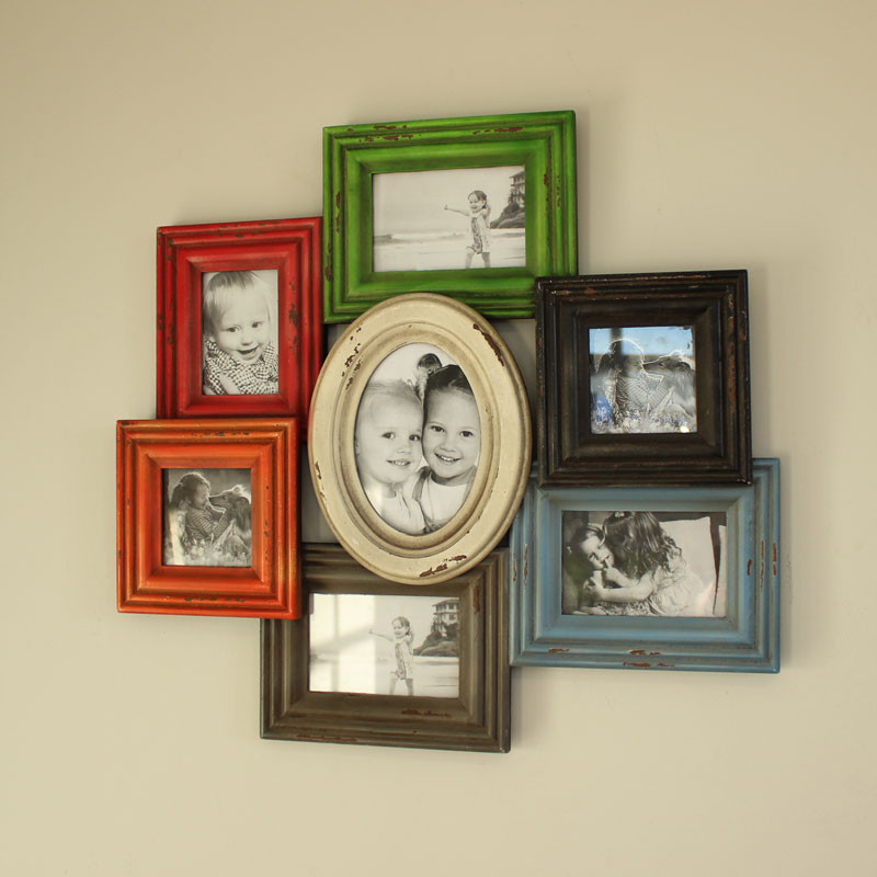 Wooden multi photograph frame multicoloured orange red photo picture square oval black cream green