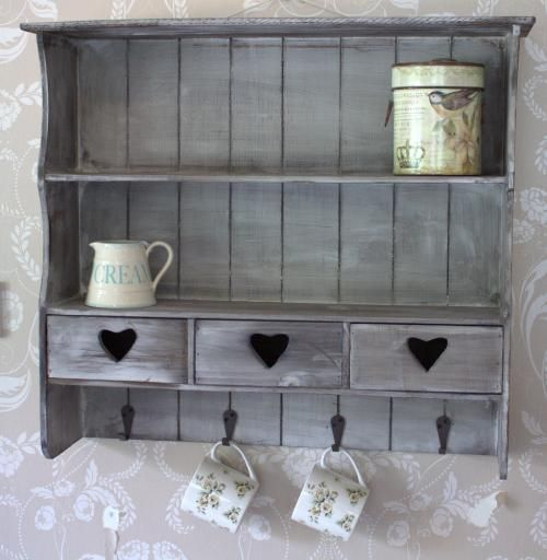 Grey Wall Shelf With Drawers