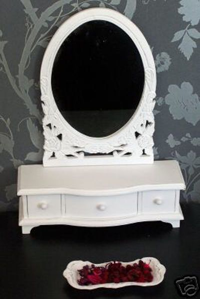 Exceptionnel French Style Dressing Table Mirror Drawers Finished White