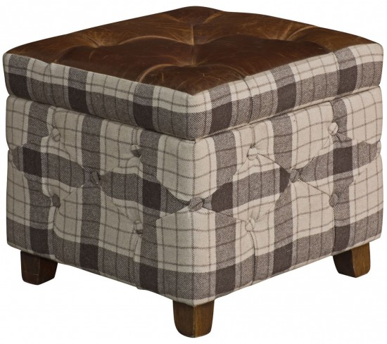 Vintage Leather & Tweed Pouffe
