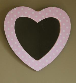 Pink polka dot Heart Mirror