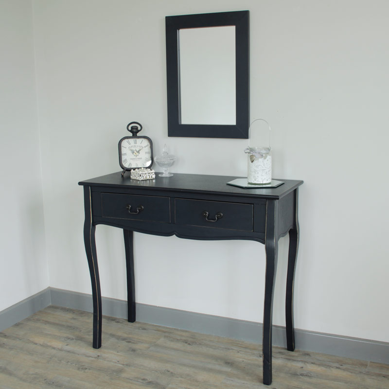 Grey vintage console table dressing table wall mirror for Wall table with mirror