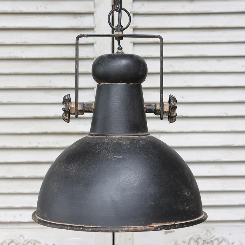 black retro industrial style ceiling light fitting rustic pendant light metal ebay. Black Bedroom Furniture Sets. Home Design Ideas