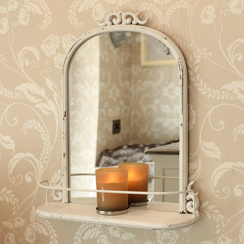 Ivory Antique Style Mirror with Shelf