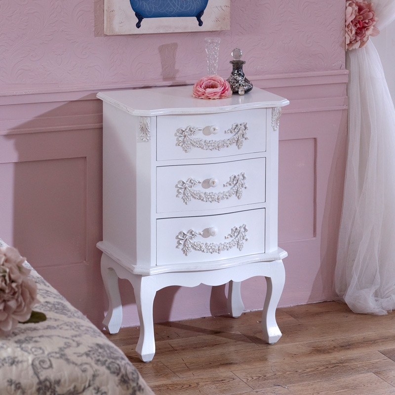Antique White 3 Drawer Bedside Table - Pays Blanc Range