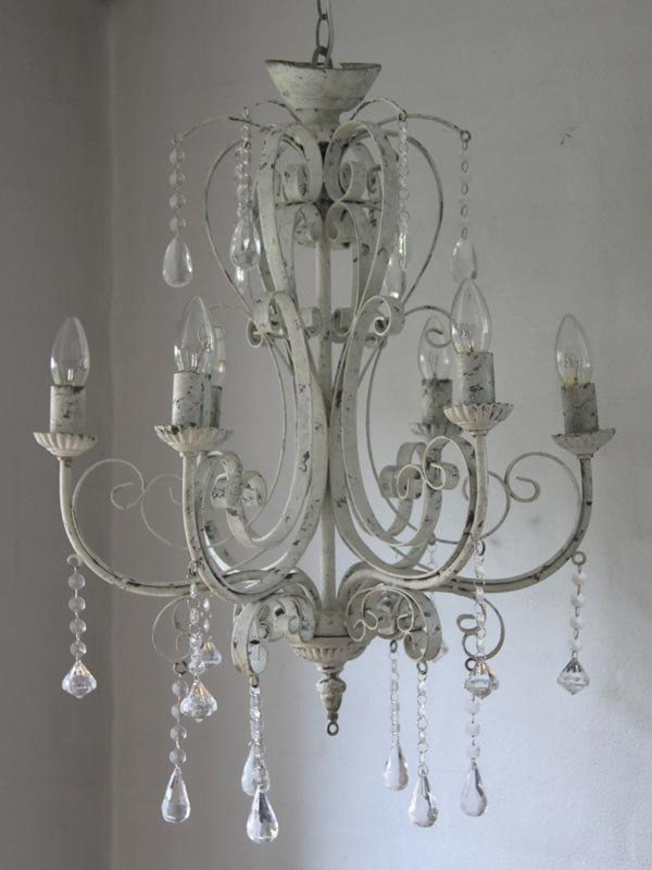 chandelier light fitting cream distressed crystal ceiling fitted shabby chic ebay. Black Bedroom Furniture Sets. Home Design Ideas