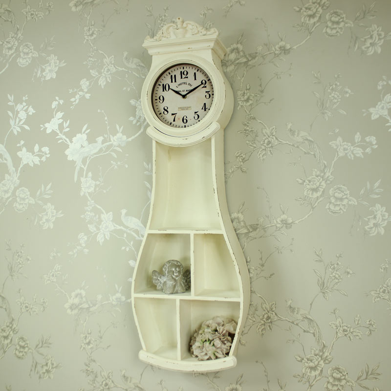 Antique white wall mounted grandfather clock shelving shabby vintage chic home ebay - Wall mounted grandfather clock ...